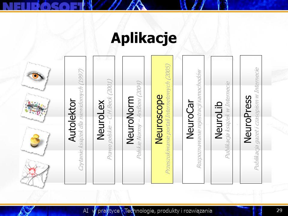 AI w praktyce - Technologie, produkty i rozwiązania 29 Aplikacje NeuroLex Prawo polskie – C.H.Beck (2001) NeuroNorm Polskie Normy – ArsBoni (2004) Aut