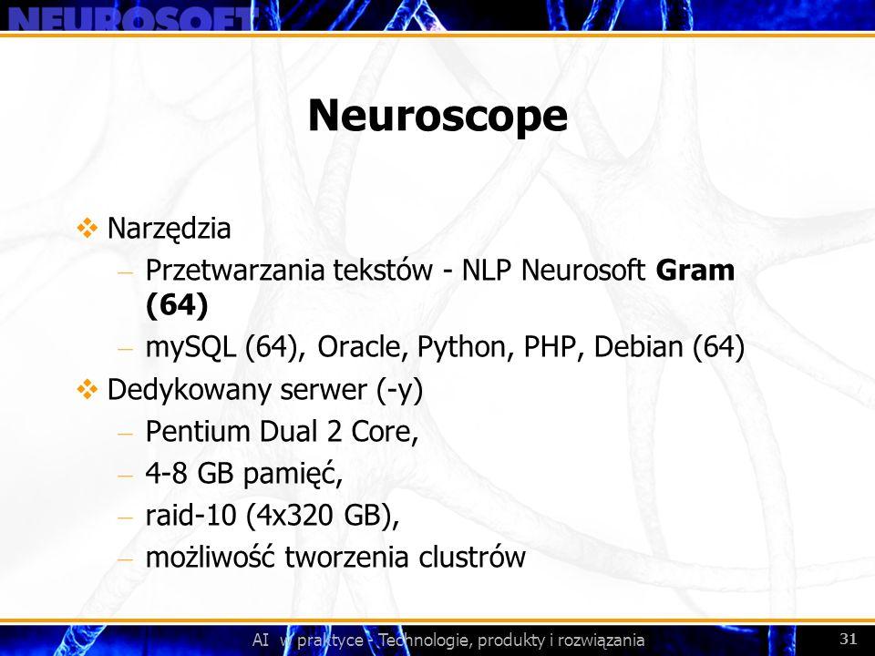 AI w praktyce - Technologie, produkty i rozwiązania 31 Neuroscope Narzędzia – Przetwarzania tekstów - NLP Neurosoft Gram (64) – mySQL (64), Oracle, Py