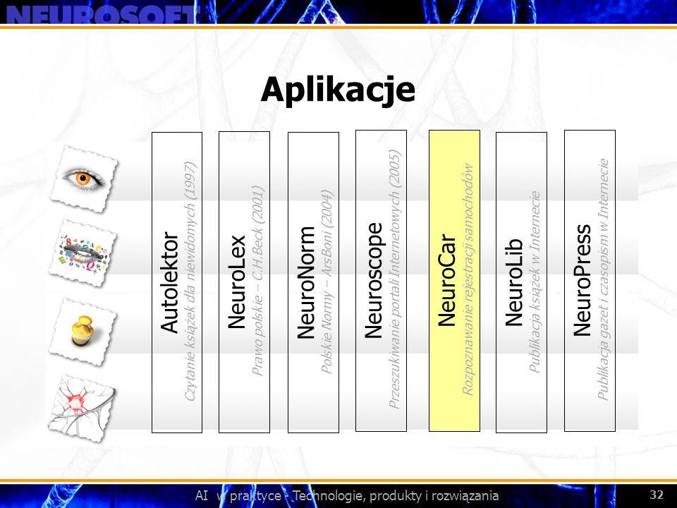 AI w praktyce - Technologie, produkty i rozwiązania 32 Aplikacje NeuroLex Prawo polskie – C.H.Beck (2001) NeuroNorm Polskie Normy – ArsBoni (2004) Aut