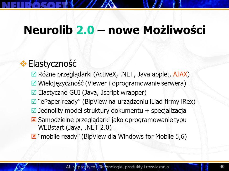 AI w praktyce - Technologie, produkty i rozwiązania 40 Neurolib 2.0 – nowe Możliwości Elastyczność þRóżne przeglądarki (ActiveX,.NET, Java applet, AJA