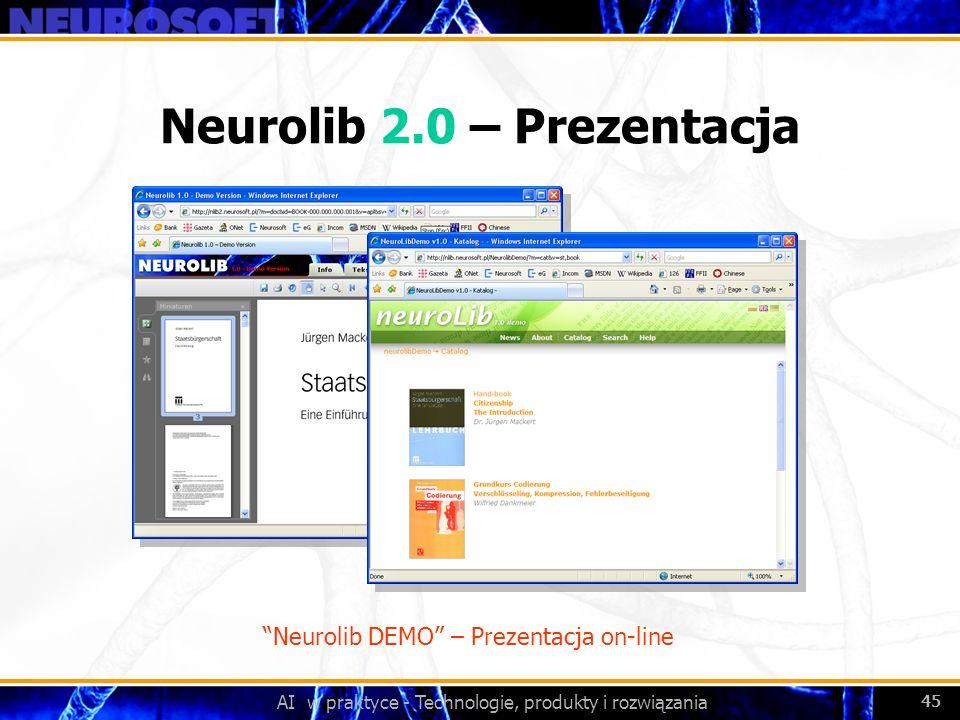 AI w praktyce - Technologie, produkty i rozwiązania 45 Neurolib 2.0 – Prezentacja Neurolib DEMO – Prezentacja on-line