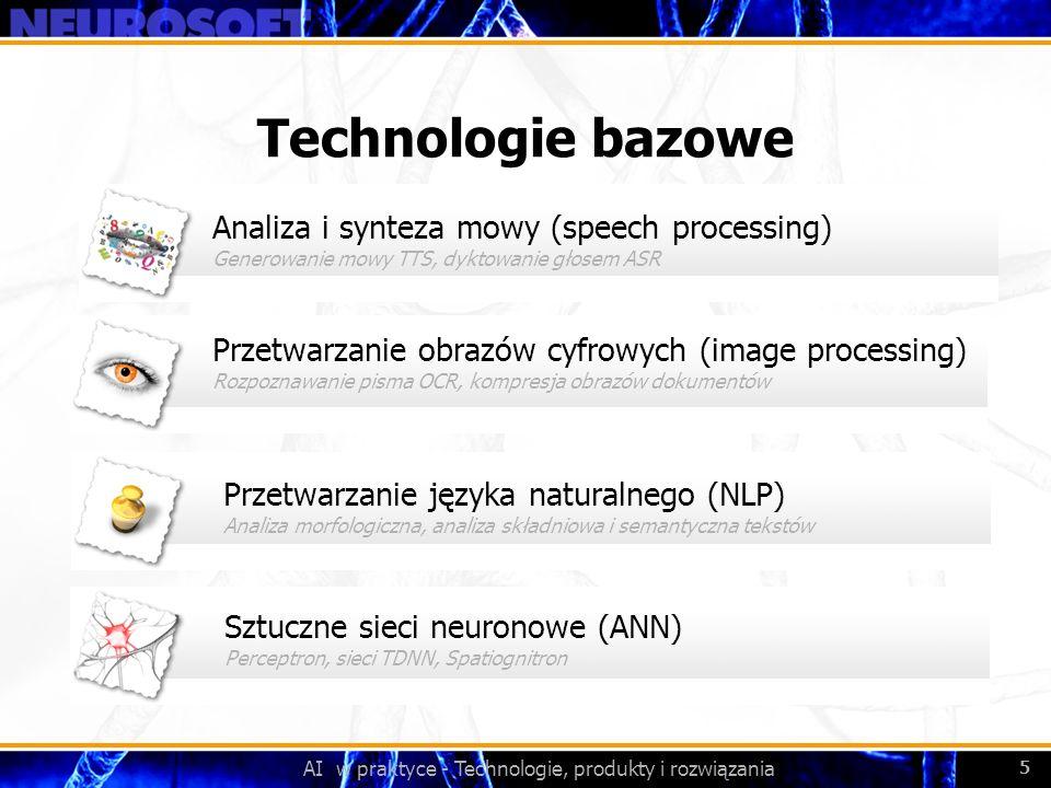 AI w praktyce - Technologie, produkty i rozwiązania 5 Przetwarzanie obrazów cyfrowych (image processing) Rozpoznawanie pisma OCR, kompresja obrazów do