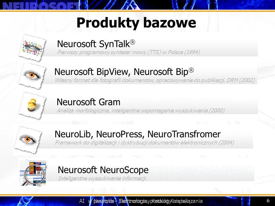 AI w praktyce - Technologie, produkty i rozwiązania 6 Neurolib - Elektroniczny Katalog Książek 6 Produkty bazowe Neurosoft BipView, Neurosoft Bip ® Wł