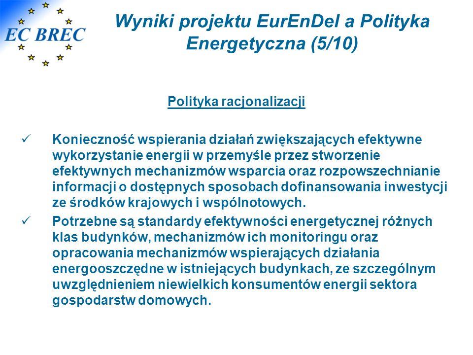 Wyniki projektu EurEnDel a Polityka Energetyczna (5/10) Polityka racjonalizacji Konieczność wspierania działań zwiększających efektywne wykorzystanie energii w przemyśle przez stworzenie efektywnych mechanizmów wsparcia oraz rozpowszechnianie informacji o dostępnych sposobach dofinansowania inwestycji ze środków krajowych i wspólnotowych.