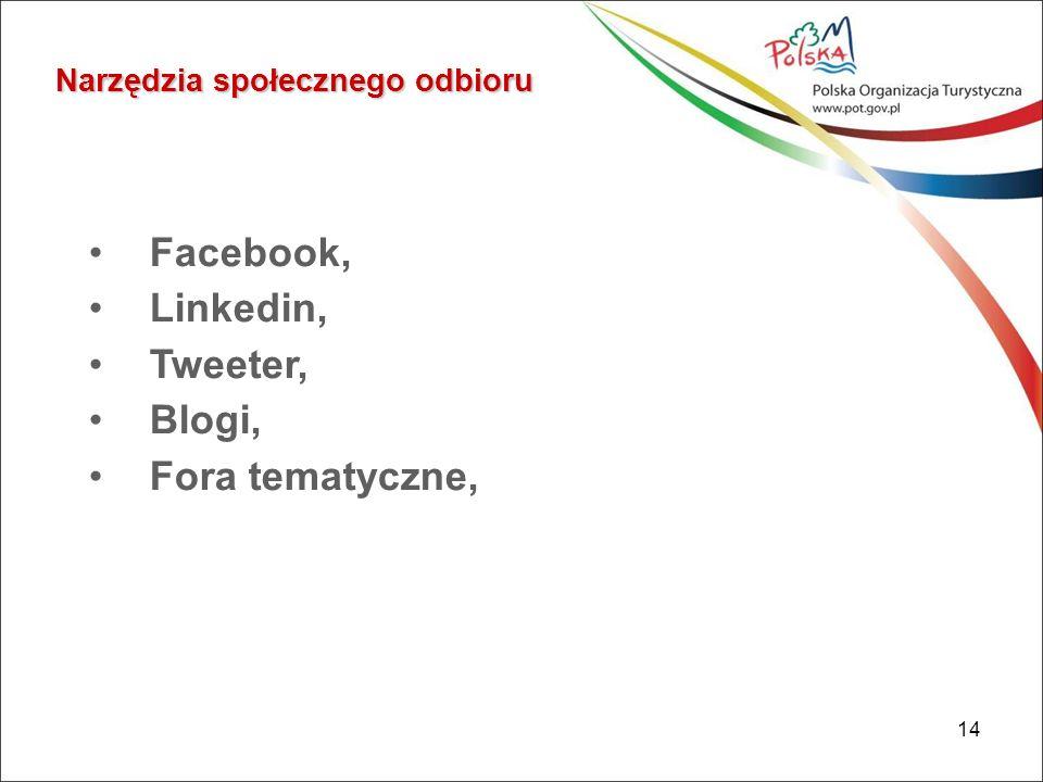 14 Narzędzia społecznego odbioru Facebook, Linkedin, Tweeter, Blogi, Fora tematyczne,