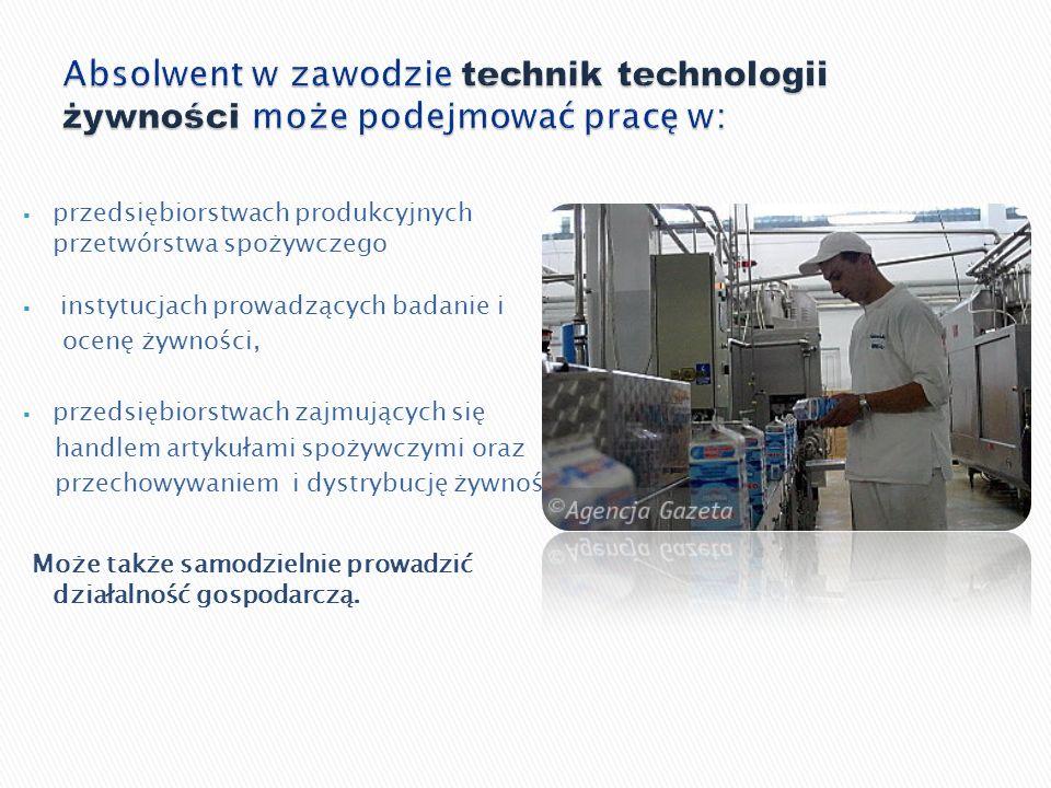 przedsiębiorstwach produkcyjnych przetwórstwa spożywczego instytucjach prowadzących badanie i ocenę żywności, przedsiębiorstwach zajmujących się handl