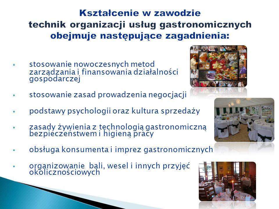 stosowanie nowoczesnych metod zarządzania i finansowania działalności gospodarczej stosowanie zasad prowadzenia negocjacji podstawy psychologii oraz k