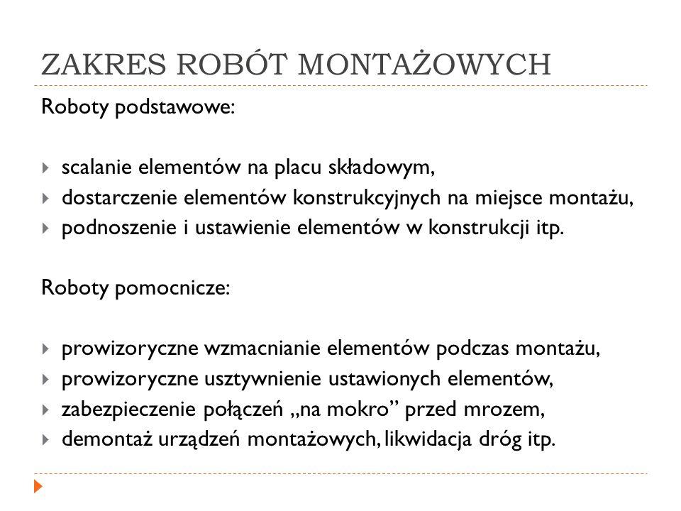 ZAKRES ROBÓT MONTAŻOWYCH Roboty podstawowe: scalanie elementów na placu składowym, dostarczenie elementów konstrukcyjnych na miejsce montażu, podnosze