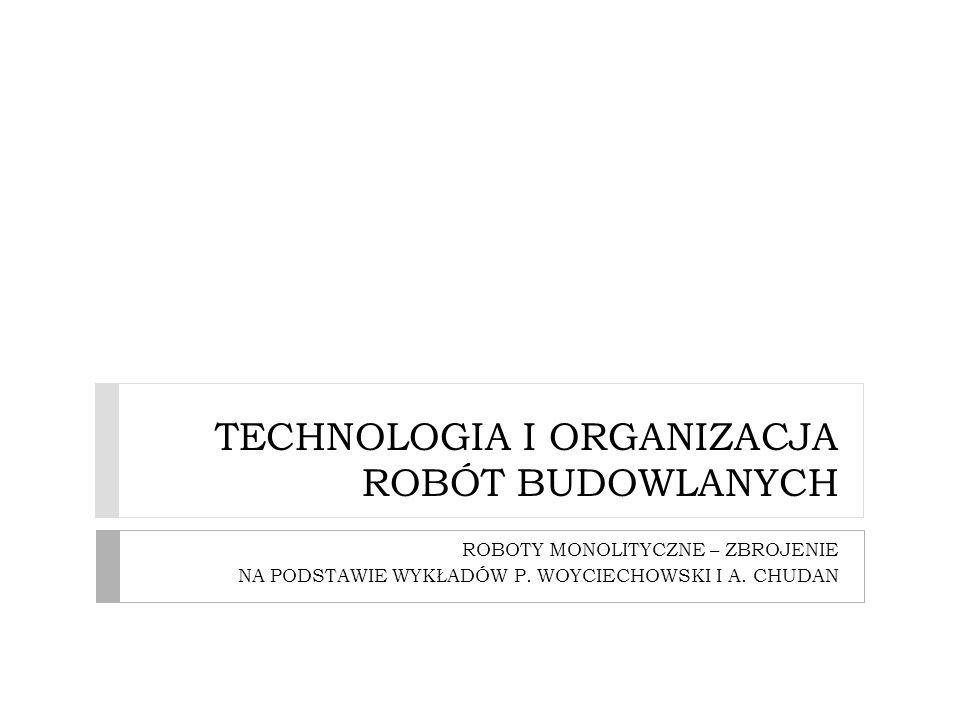 TECHNOLOGIA I ORGANIZACJA ROBÓT BUDOWLANYCH ROBOTY MONOLITYCZNE – ZBROJENIE NA PODSTAWIE WYKŁADÓW P. WOYCIECHOWSKI I A. CHUDAN
