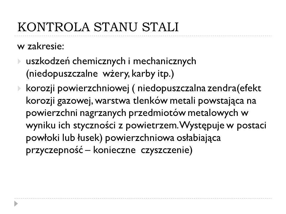 KONTROLA STANU STALI w zakresie: uszkodzeń chemicznych i mechanicznych (niedopuszczalne wżery, karby itp.) korozji powierzchniowej ( niedopuszczalna z