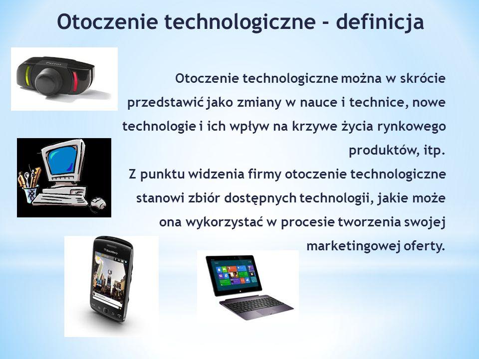 Otoczenie technologiczne można w skrócie przedstawić jako zmiany w nauce i technice, nowe technologie i ich wpływ na krzywe życia rynkowego produktów, itp.