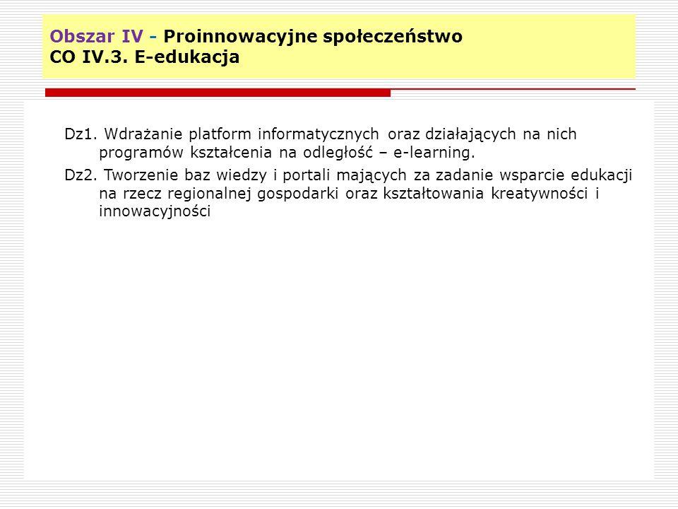 Obszar IV - Proinnowacyjne społeczeństwo CO IV.3. E-edukacja 10 Dz1.