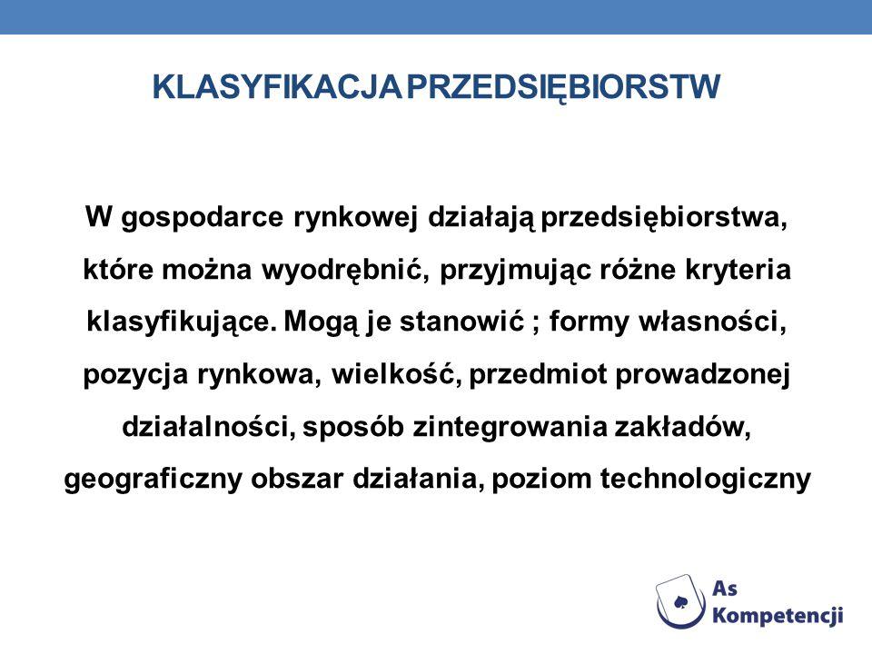KLASYFIKACJA PRZEDSIĘBIORSTW Podstawowymi rodzajami przedsiębiorstw są: przedsiębiorstwo państwowe, spółdzielnia i spółka.