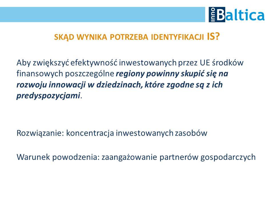 SKĄD WYNIKA POTRZEBA IDENTYFIKACJI IS? Aby zwiększyć efektywność inwestowanych przez UE środków finansowych poszczególne regiony powinny skupić się na