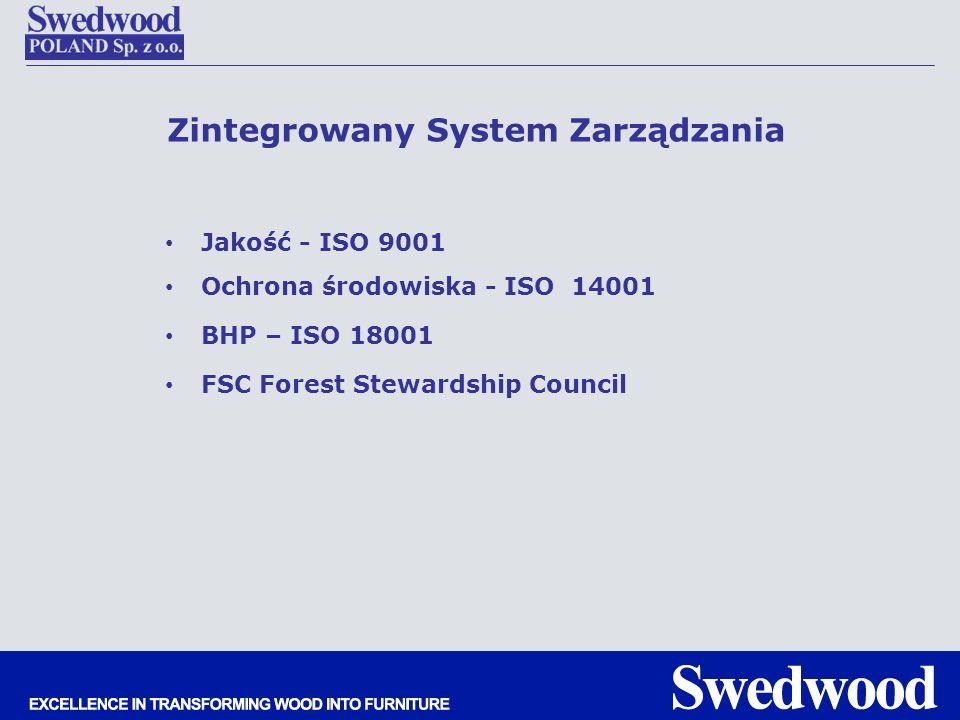 Zintegrowany System Zarządzania Jakość - ISO 9001 Ochrona środowiska - ISO 14001 BHP – ISO 18001 FSC Forest Stewardship Council