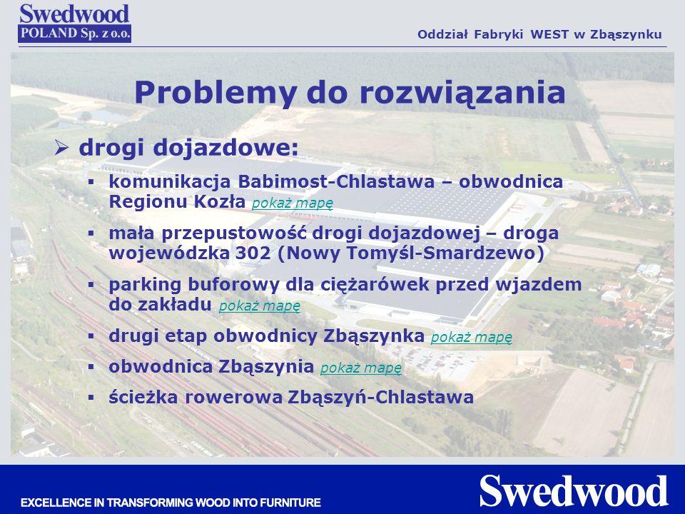 drogi dojazdowe: komunikacja Babimost-Chlastawa – obwodnica Regionu Kozła pokaż mapę pokaż mapę mała przepustowość drogi dojazdowej – droga wojewódzka