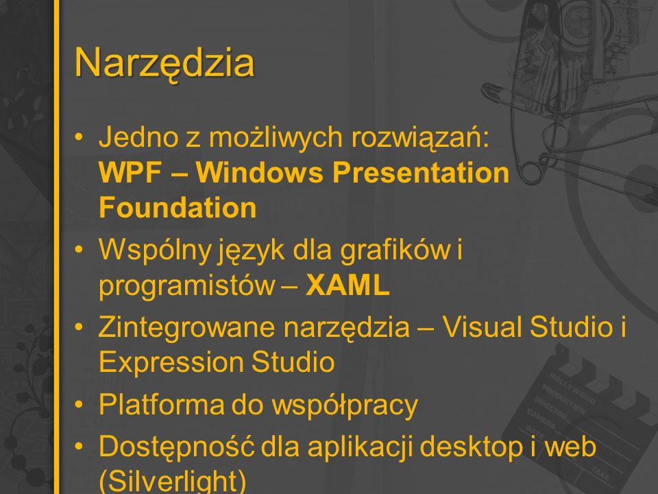 Narzędzia Jedno z możliwych rozwiązań: WPF – Windows Presentation Foundation Wspólny język dla grafików i programistów – XAML Zintegrowane narzędzia – Visual Studio i Expression Studio Platforma do współpracy Dostępność dla aplikacji desktop i web (Silverlight)