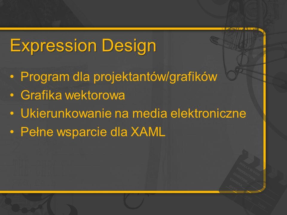 Expression Design Program dla projektantów/grafików Grafika wektorowa Ukierunkowanie na media elektroniczne Pełne wsparcie dla XAML