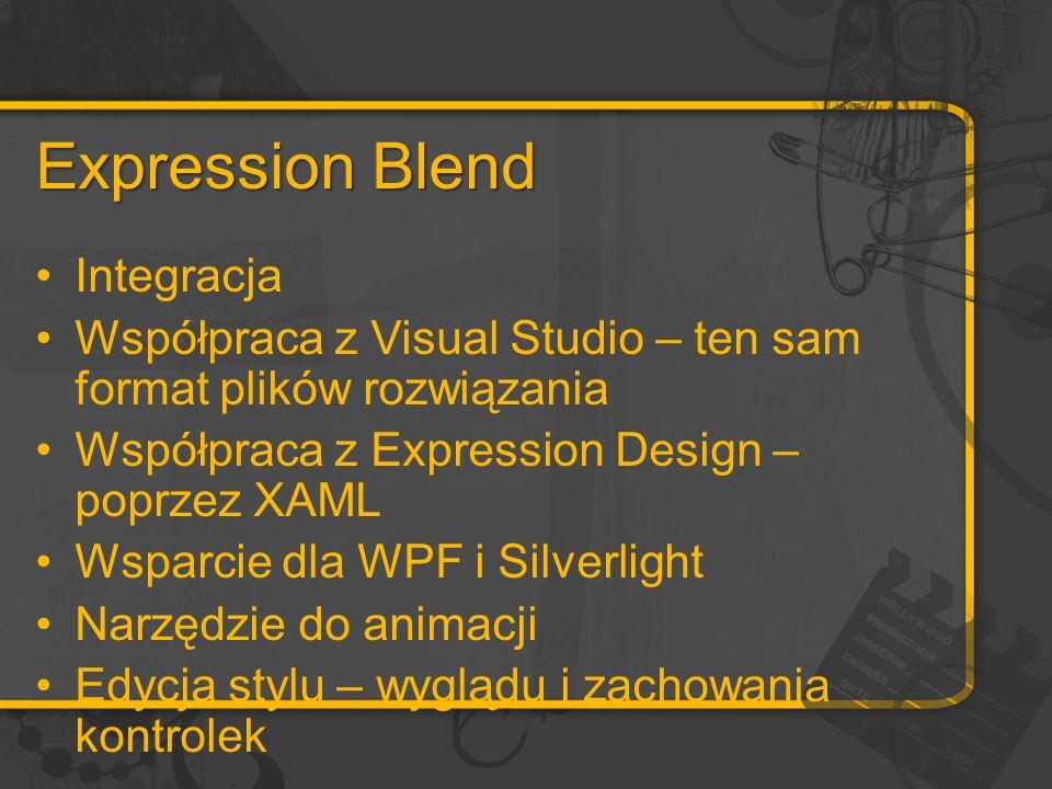 Expression Blend Integracja Współpraca z Visual Studio – ten sam format plików rozwiązania Współpraca z Expression Design – poprzez XAML Wsparcie dla WPF i Silverlight Narzędzie do animacji Edycja stylu – wyglądu i zachowania kontrolek