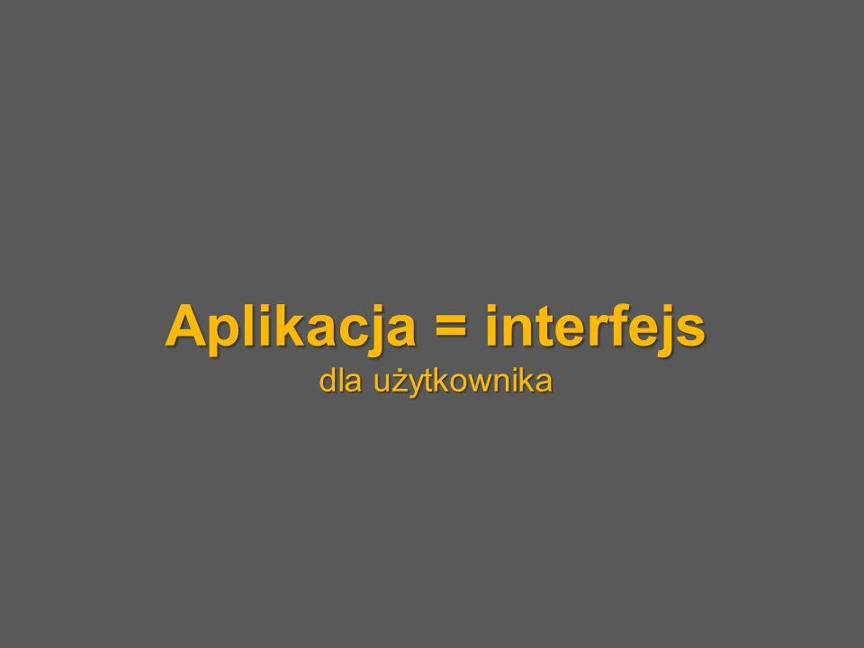 Aplikacja = interfejs dla użytkownika