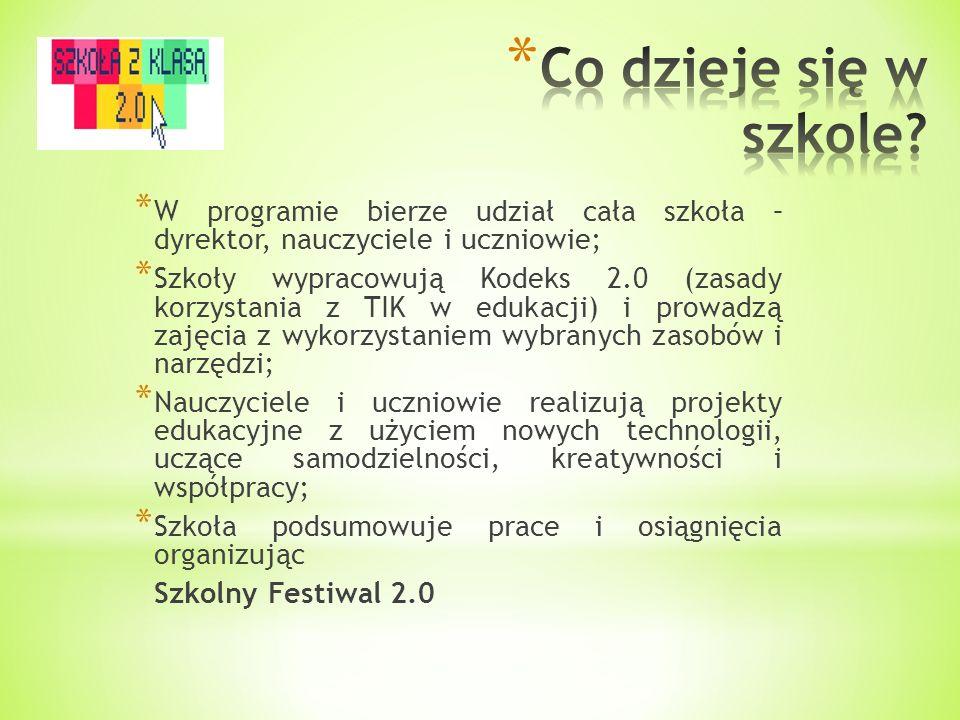 * W p * W programie bierze udział cała szkoła – dyrektor, nauczyciele i uczniowie; * Szkoły wypracowują Kodeks 2.0 (zasady korzystania z TIK w edukacj