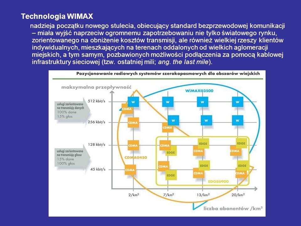 Technologia WIMAX nadzieja początku nowego stulecia, obiecujący standard bezprzewodowej komunikacji – miała wyjść naprzeciw ogromnemu zapotrzebowaniu nie tylko światowego rynku, zorientowanego na obniżenie kosztów transmisji, ale również wielkiej rzeszy klientów indywidualnych, mieszkających na terenach oddalonych od wielkich aglomeracji miejskich, a tym samym, pozbawionych możliwości podłączenia za pomocą kablowej infrastruktury sieciowej (tzw.