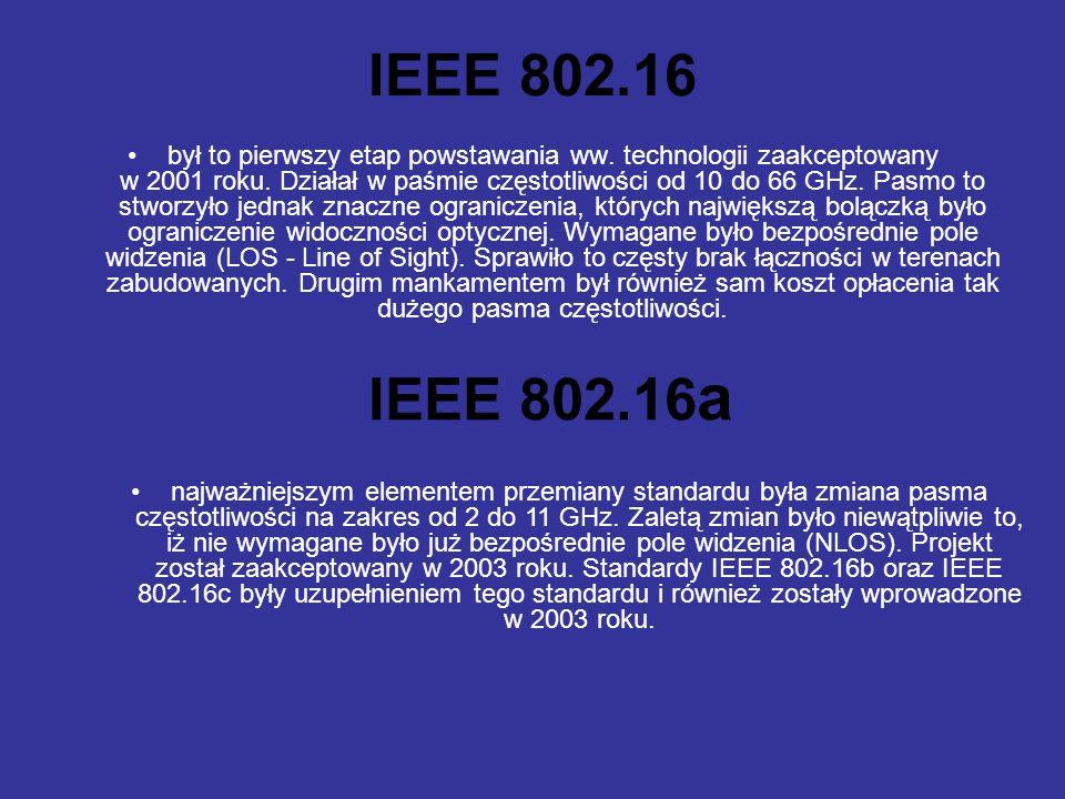 IEEE 802.16 był to pierwszy etap powstawania ww.technologii zaakceptowany w 2001 roku.