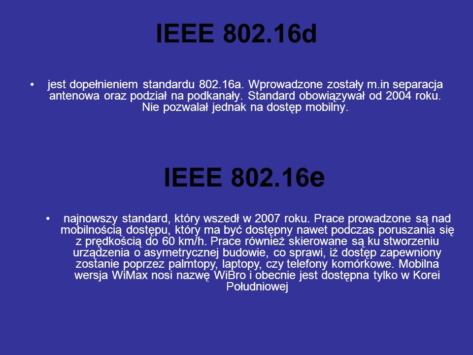 IEEE 802.16d jest dopełnieniem standardu 802.16a.
