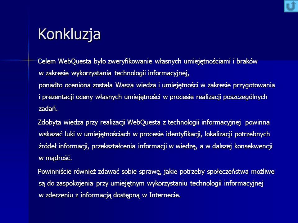 Konkluzja Celem WebQuesta było zweryfikowanie własnych umiejętnościami i braków w zakresie wykorzystania technologii informacyjnej, ponadto oceniona z
