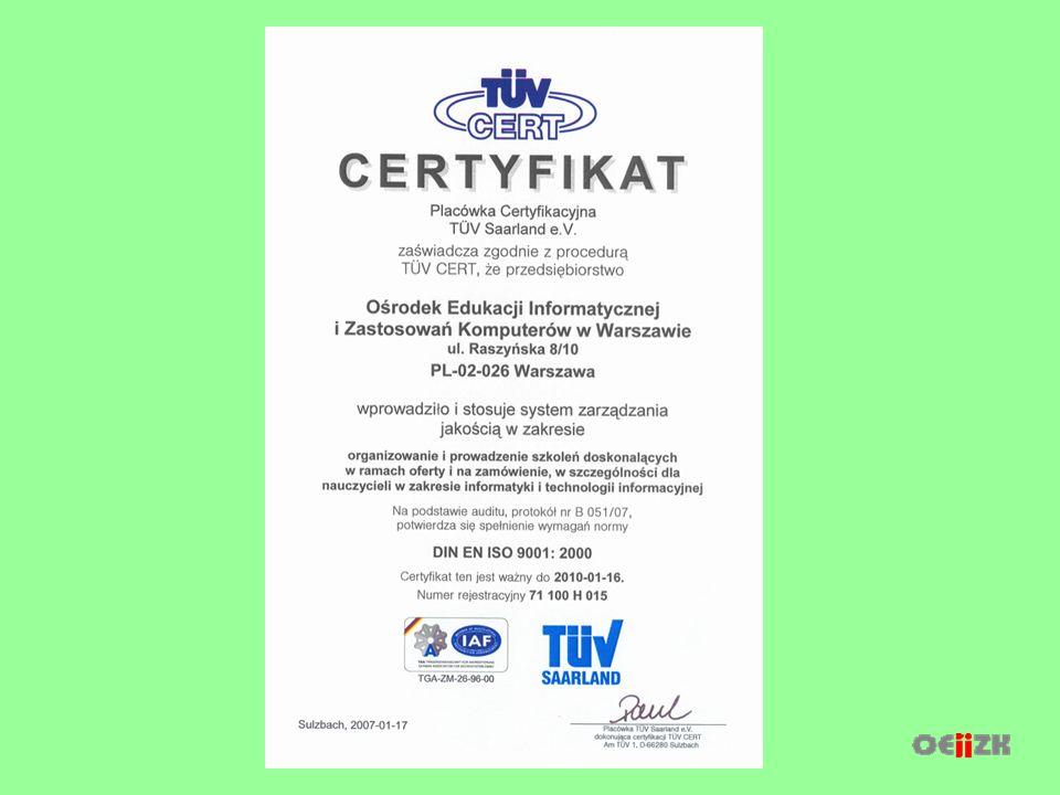 W listopadzie 2006 roku w Ośrodku został wdrożony system zarządzania jakością zgodny z normą PN-EN ISO 9001:2001 Audyt certyfikujący (3,4.I.2007), przeprowadzony przez audytorów TÜV CERT zakończył się wynikiem pozytywnym i Ośrodkowi został przyznany certyfikat systemu zarządzania jakością ISO 9001:2000