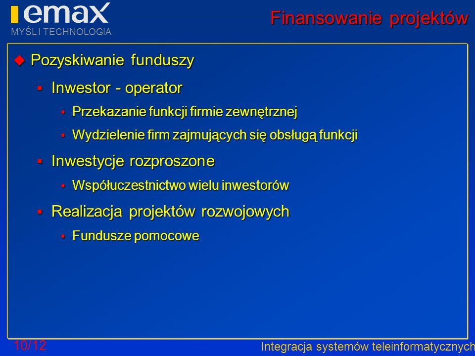 Integracja systemów teleinformatycznych MYŚL I TECHNOLOGIA 10/12 Finansowanie projektów Pozyskiwanie funduszy Pozyskiwanie funduszy Inwestor - operato