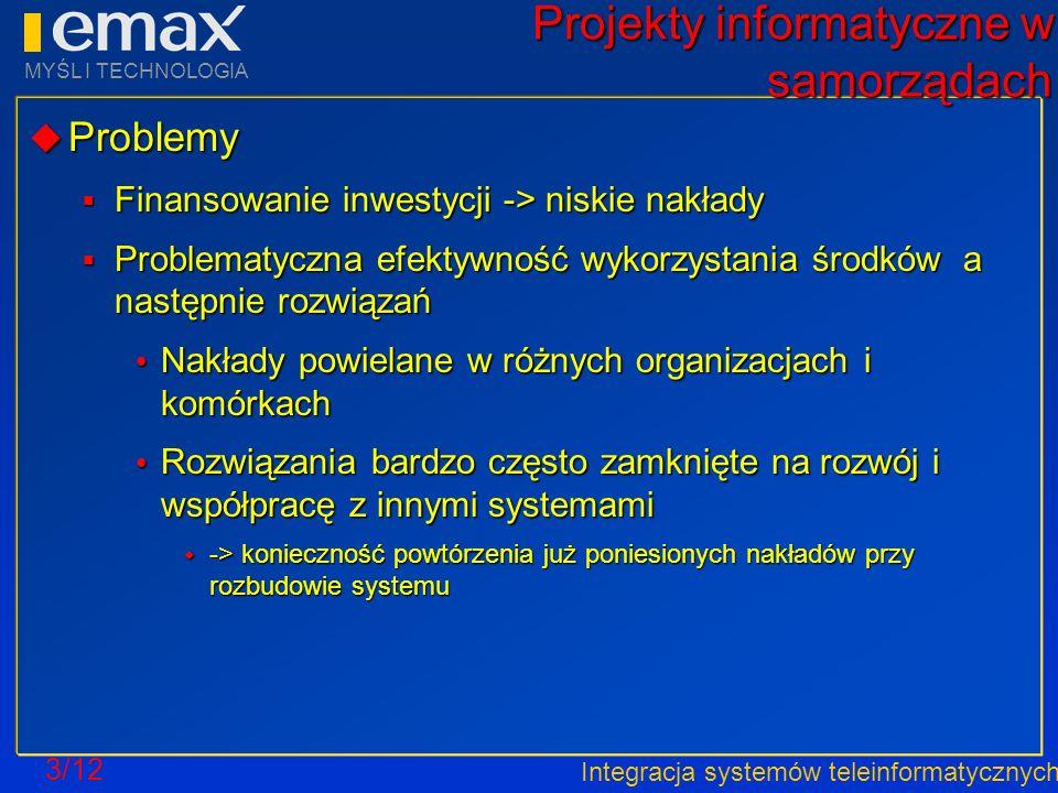 Integracja systemów teleinformatycznych MYŚL I TECHNOLOGIA 3/12 Projekty informatyczne w samorządach Problemy Problemy Finansowanie inwestycji -> nisk