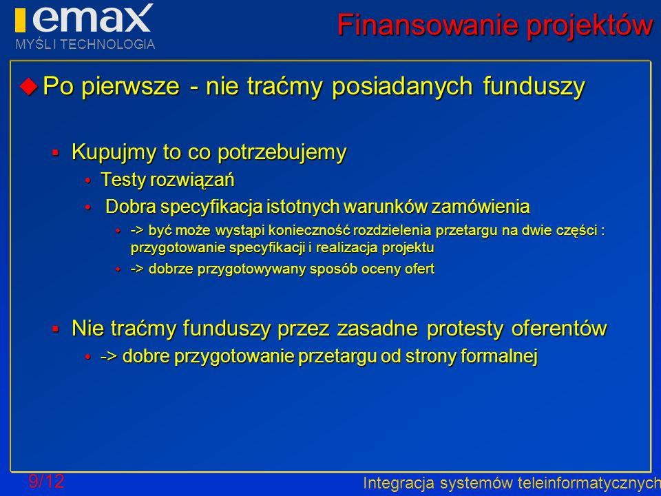 Integracja systemów teleinformatycznych MYŚL I TECHNOLOGIA 9/12 Finansowanie projektów Po pierwsze - nie traćmy posiadanych funduszy Po pierwsze - nie