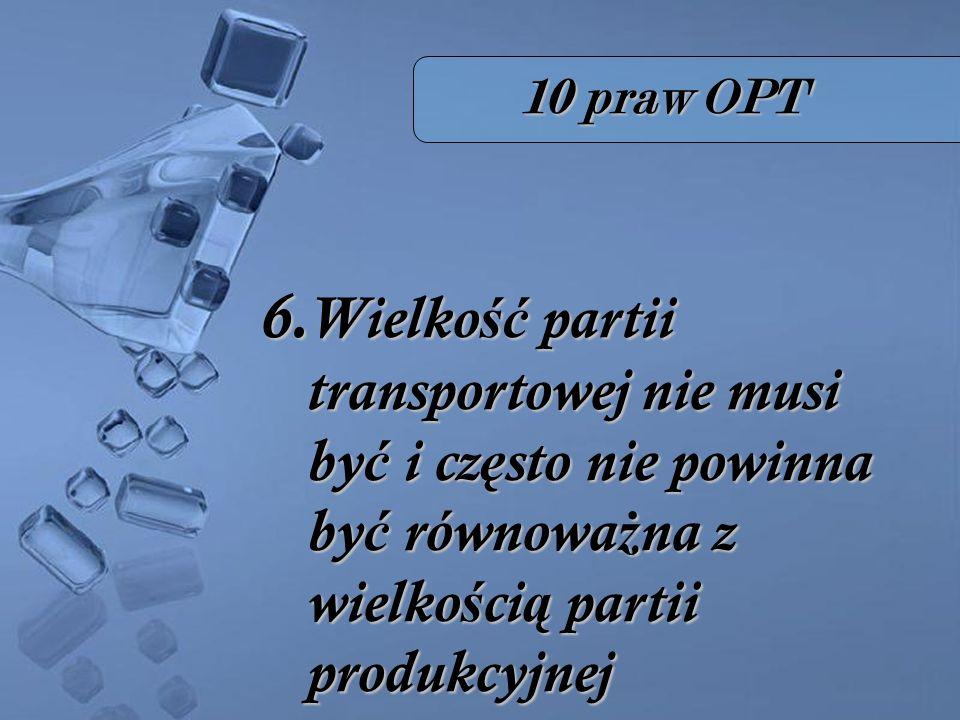 10 praw OPT 6. Wielko ść partii transportowej nie musi by ć i cz ę sto nie powinna by ć równowa ż na z wielko ś ci ą partii produkcyjnej