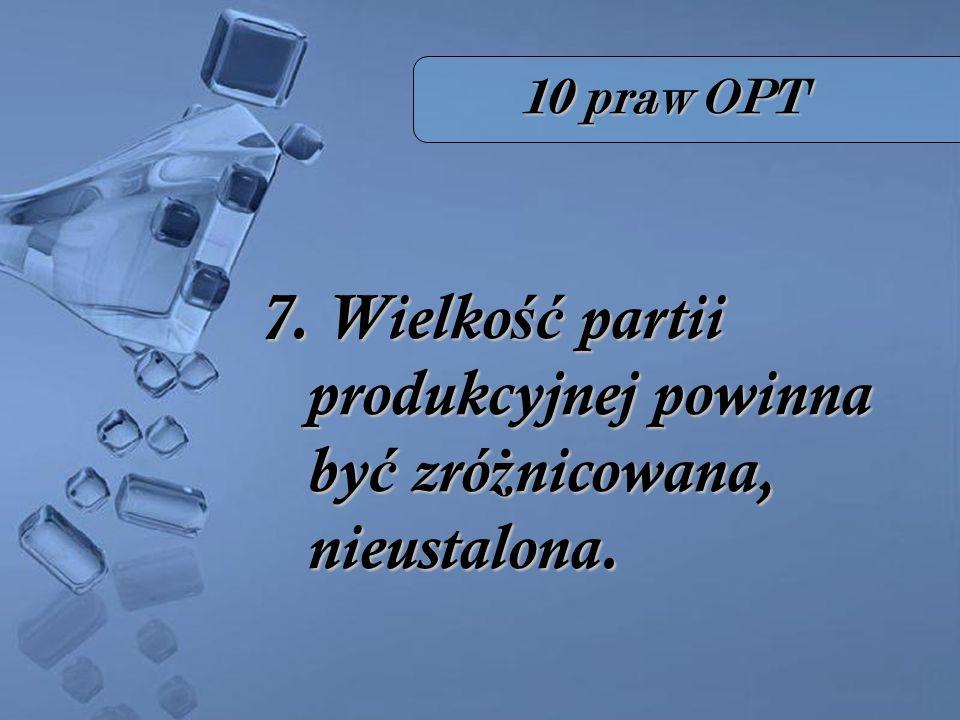 10 praw OPT 7. Wielko ść partii produkcyjnej powinna by ć zró ż nicowana, nieustalona.