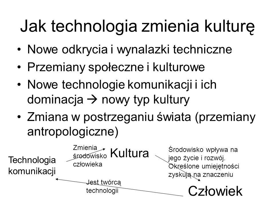Rozwój technologii komunikacji i efekt opóźnienia kulturowego I etap – nowa technologia –Fascynacja nowością –Lęk przed nowym –Niepewność jutra II etap – adaptacja kulturowa –Rozumienie szans i zagrożeń –Akceptacja, afirmacja –Edukacja Media to zagrożenie, manipulacja Media to nośniki ideologii Brak umiejętności wykorzystania – wykluczenie społeczne Media to tylko narzędzia, które mogą nam się bardzo przydać Korzystanie z nich to ważny element naszego życia i rozwoju Trzeba uczyć się z nich korzystać Komputer w każdej szkole!