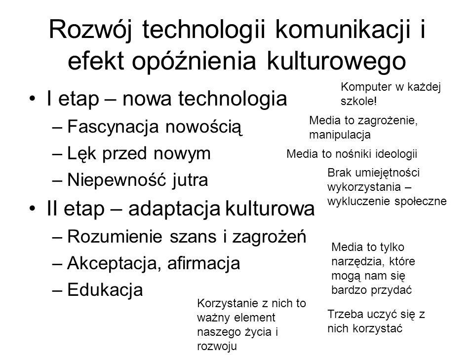 Rozwój technologii komunikacji i efekt opóźnienia kulturowego I etap – nowa technologia –Fascynacja nowością –Lęk przed nowym –Niepewność jutra II eta
