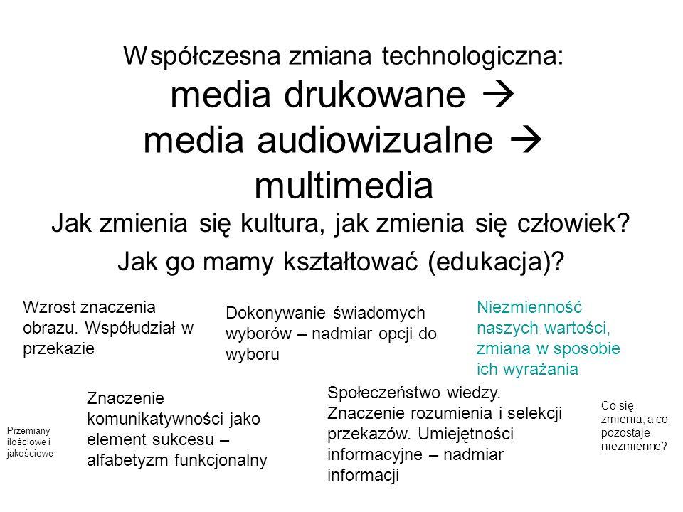 Współczesna zmiana technologiczna: media drukowane media audiowizualne multimedia Jak zmienia się kultura, jak zmienia się człowiek? Jak go mamy kszta