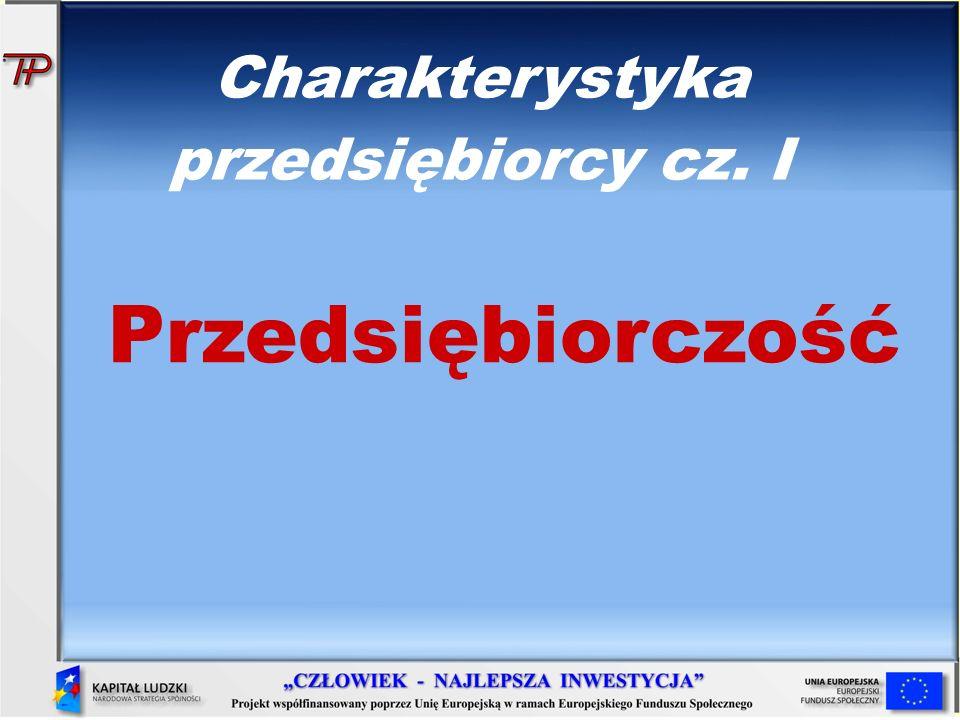 Charakterystyka przedsiębiorcy cz. I Przedsiębiorczość