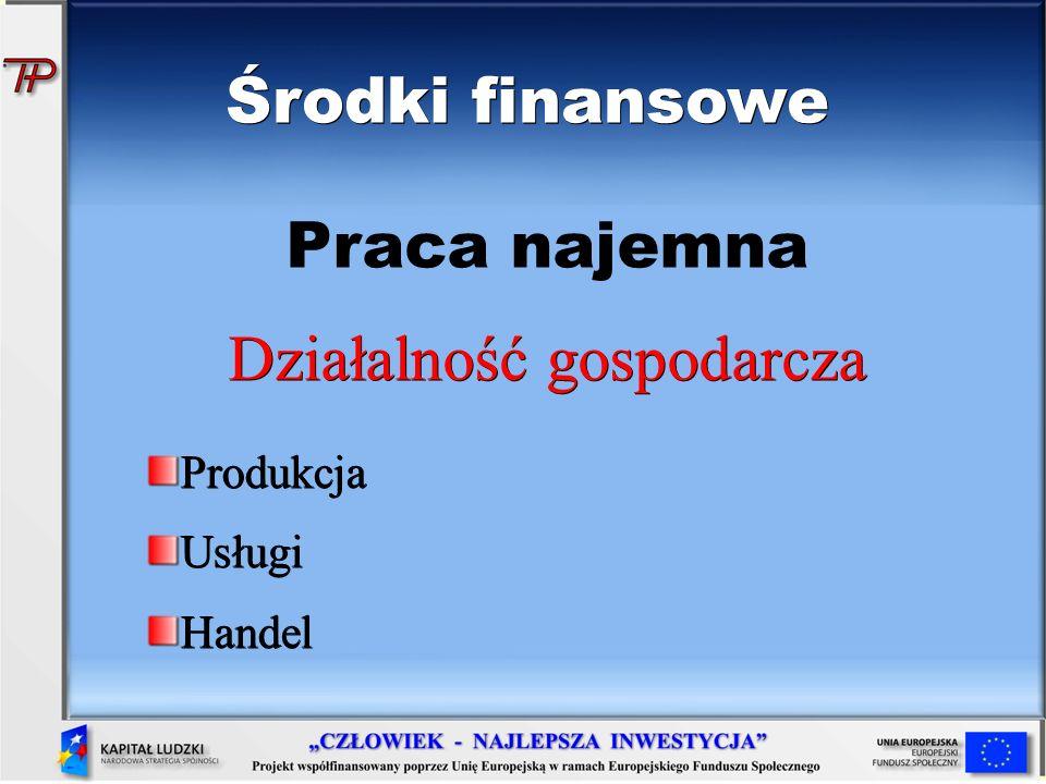 Środki finansowe Praca najemna Działalność gospodarcza ProdukcjaUsługiHandel