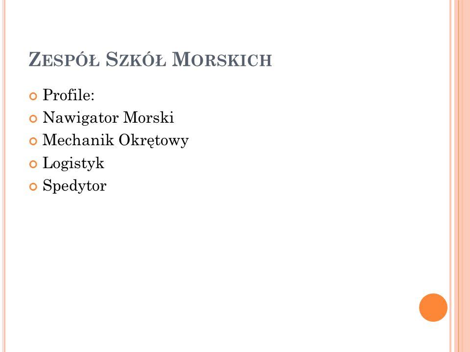 Z ESPÓŁ S ZKÓŁ M ORSKICH Profile: Nawigator Morski Mechanik Okrętowy Logistyk Spedytor
