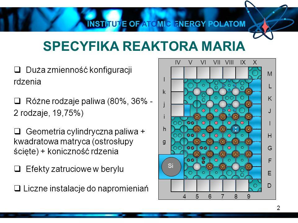 2 SPECYFIKA REAKTORA MARIA Duża zmienność konfiguracji rdzenia Różne rodzaje paliwa (80%, 36% - 2 rodzaje, 19,75%) Geometria cylindryczna paliwa + kwa