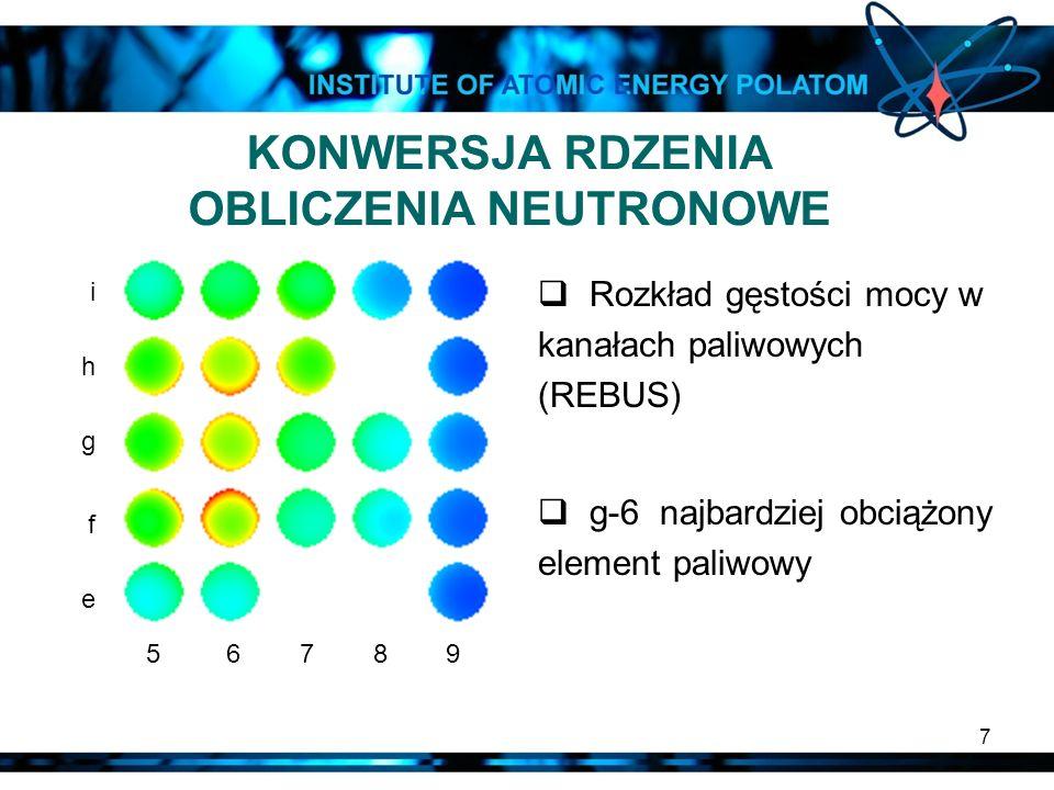 7 KONWERSJA RDZENIA OBLICZENIA NEUTRONOWE Rozkład gęstości mocy w kanałach paliwowych (REBUS) g-6 najbardziej obciążony element paliwowy i h g f e 5 6