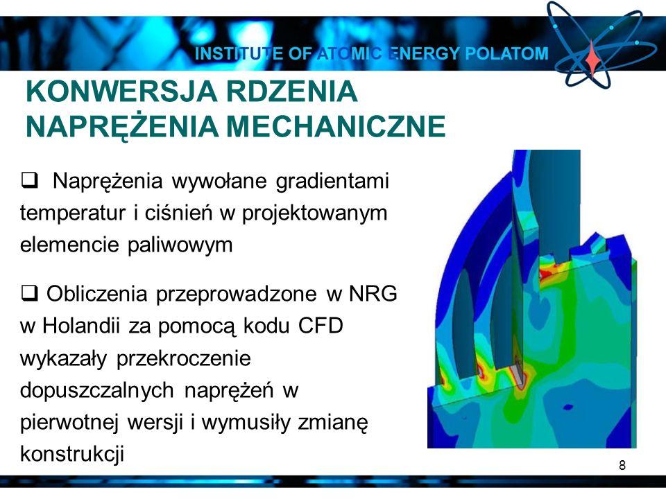 8 KONWERSJA RDZENIA NAPRĘŻENIA MECHANICZNE Naprężenia wywołane gradientami temperatur i ciśnień w projektowanym elemencie paliwowym Obliczenia przepro