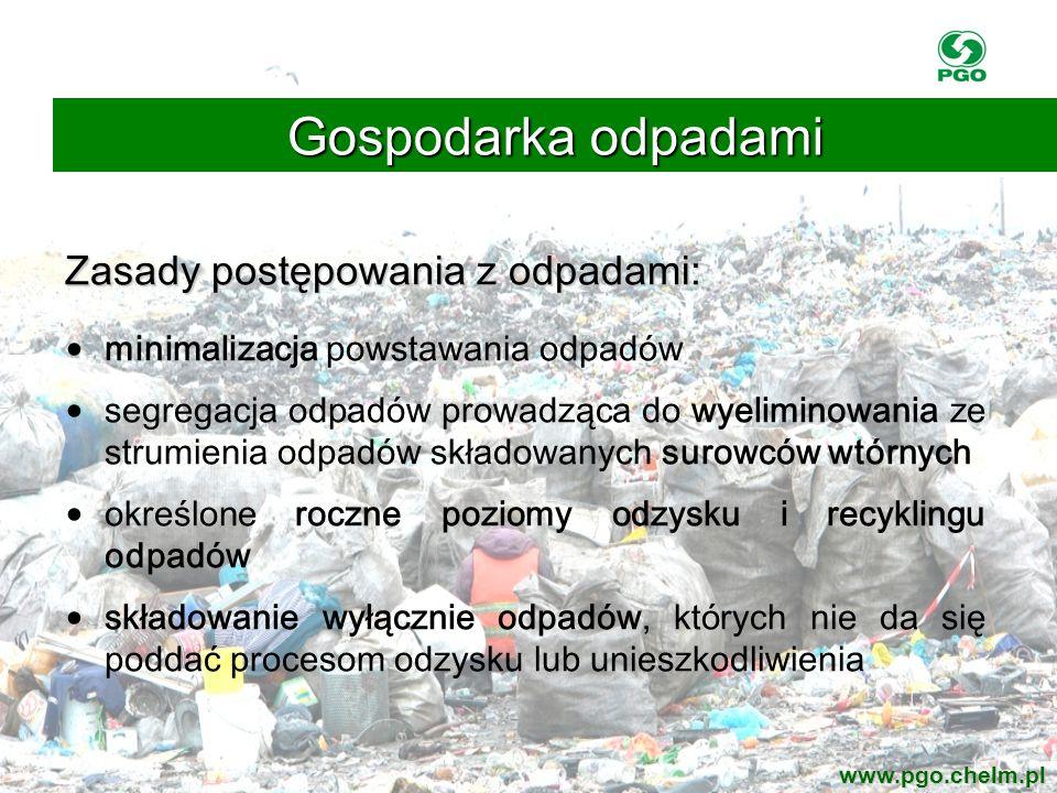 Gospodarka odpadami Zasady postępowania z odpadami: minimalizacja powstawania odpadów segregacja odpadów prowadząca do wyeliminowania ze strumienia od