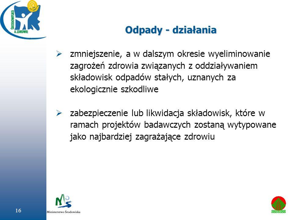 16 Odpady - działania zmniejszenie, a w dalszym okresie wyeliminowanie zagrożeń zdrowia związanych z oddziaływaniem składowisk odpadów stałych, uznany