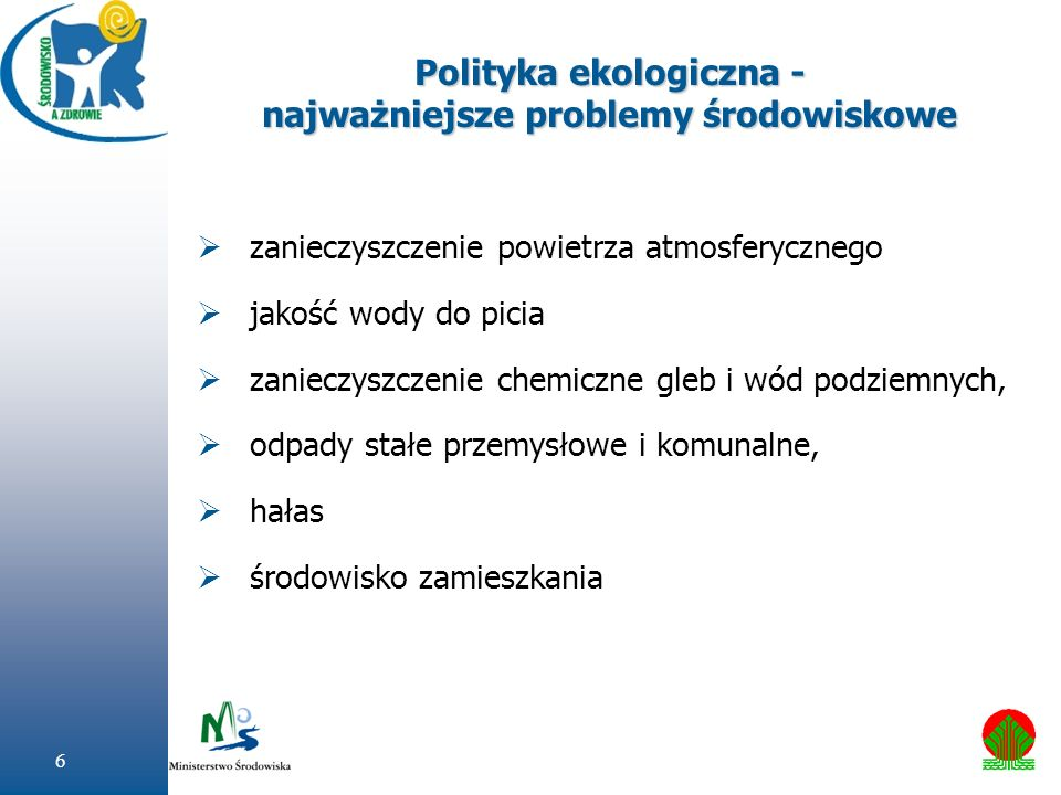 6 Polityka ekologiczna - najważniejsze problemy środowiskowe zanieczyszczenie powietrza atmosferycznego jakość wody do picia zanieczyszczenie chemiczn