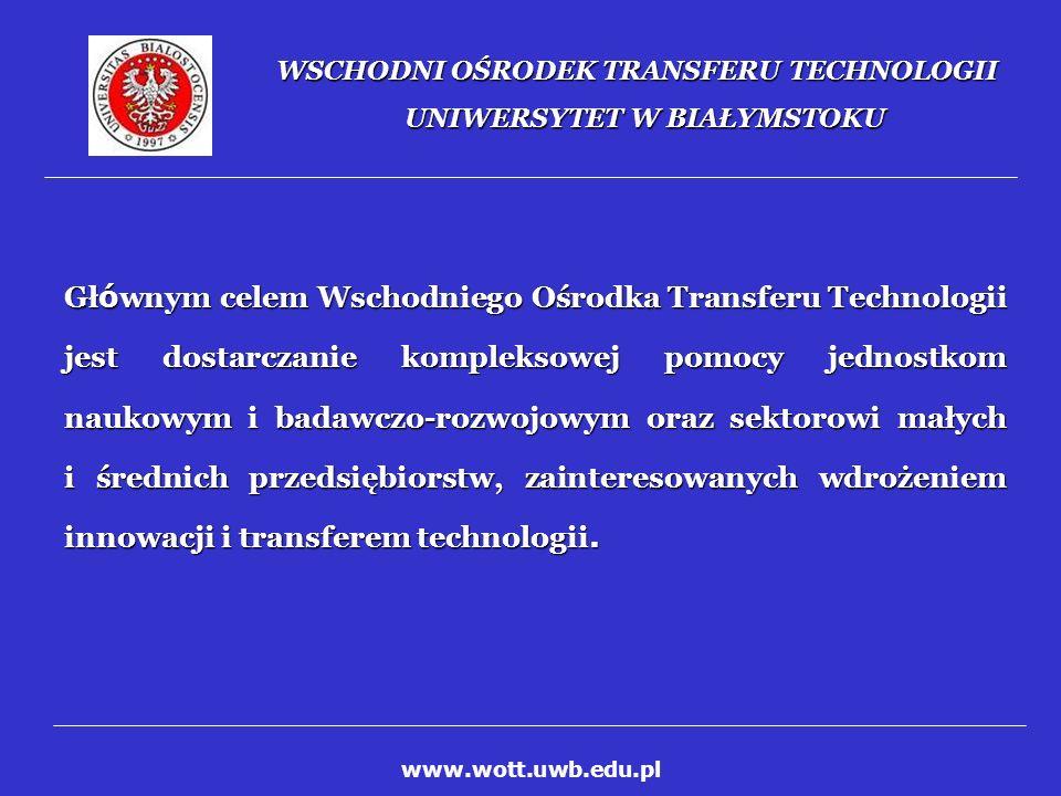 WSCHODNI OŚRODEK TRANSFERU TECHNOLOGII UNIWERSYTET W BIAŁYMSTOKU Działalność WOTT skierowana jest na podnoszenie konkurencyjności polskiego przemysłu poprzez: promowanie i wspieranie międzynarodowej wsp ó łpracy pomiędzy instytutami naukowo-badawczymi i przedsiębiorstwami w zakresie nowych technologii, promowanie i wspieranie międzynarodowej wsp ó łpracy pomiędzy instytutami naukowo-badawczymi i przedsiębiorstwami w zakresie nowych technologii, promocję przedsiębiorstw innowacyjnych, promocję przedsiębiorstw innowacyjnych, wykorzystywanie w gospodarce wynik ó w prac naukowo- badawczych w celu podnoszenia jakości usług świadczonych przez polskie firmy, wykorzystywanie w gospodarce wynik ó w prac naukowo- badawczych w celu podnoszenia jakości usług świadczonych przez polskie firmy, wspieranie transferu technologii z instytucji naukowo- badawczych do przedsiębiorstw.