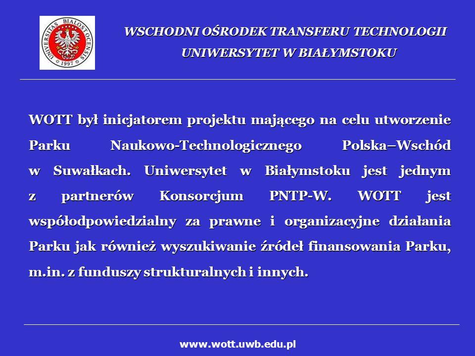 WSCHODNI OŚRODEK TRANSFERU TECHNOLOGII UNIWERSYTET W BIAŁYMSTOKU Od 1-go stycznia 2004, w wyniku konkursu ogłoszonego przez Ministerstwo Nauki i Informatyzacji WOTT został Branżowym Punktem Kontaktowym 6-ego Programu Ramowego UE.
