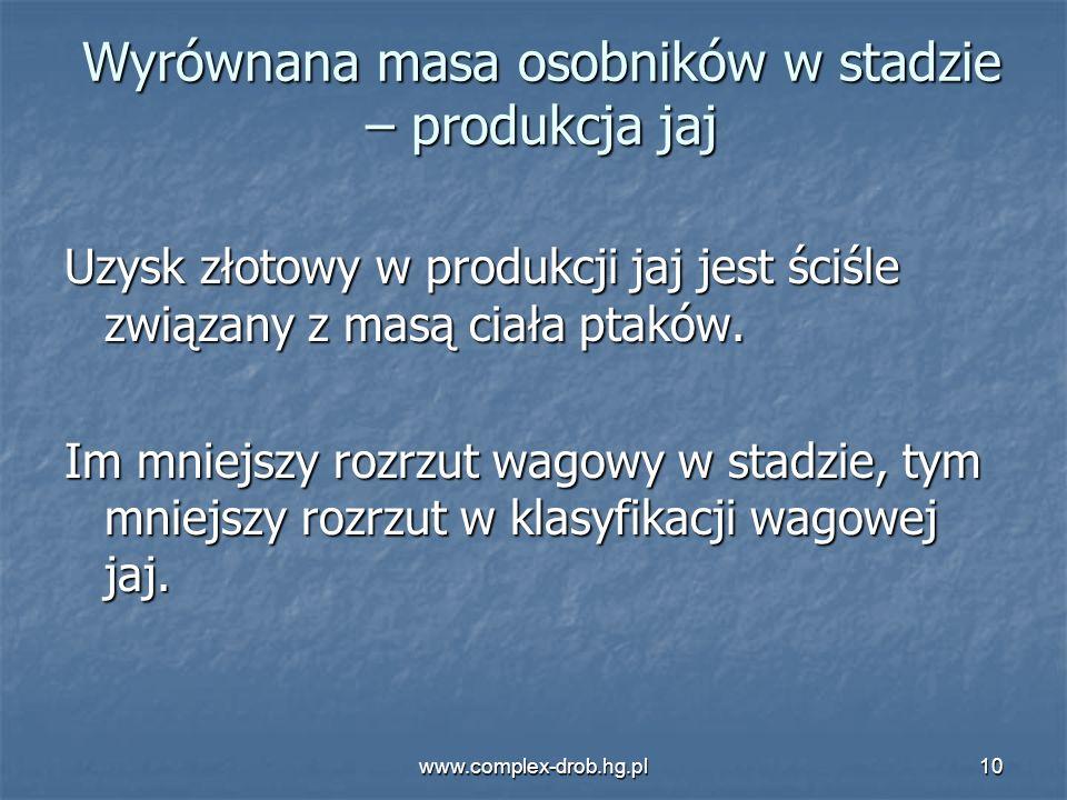 www.complex-drob.hg.pl10 Wyrównana masa osobników w stadzie – produkcja jaj Uzysk złotowy w produkcji jaj jest ściśle związany z masą ciała ptaków. Im